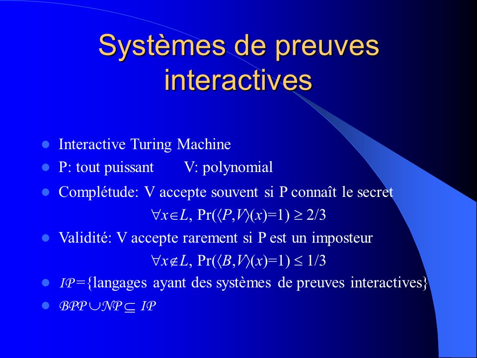 Systèmes de preuves interactives