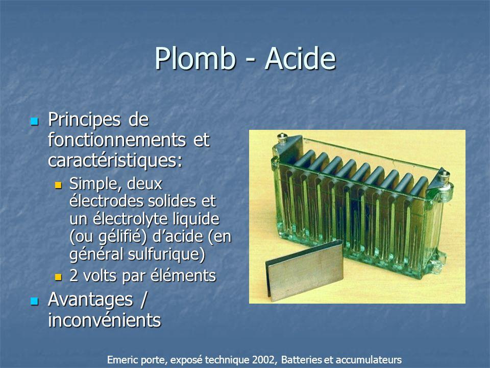 Plomb - Acide Principes de fonctionnements et caractéristiques: