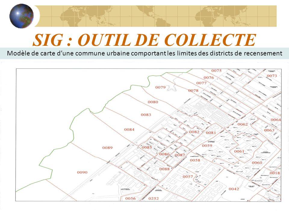 SIG : OUTIL DE COLLECTE Modèle de carte d'une commune urbaine comportant les limites des districts de recensement.