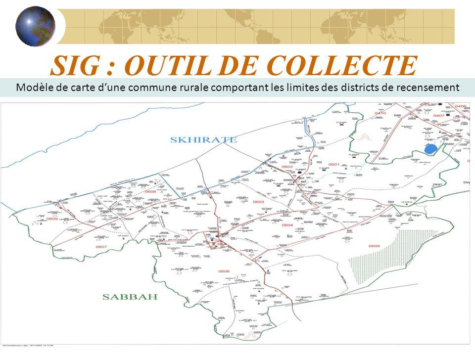 SIG : OUTIL DE COLLECTE Modèle de carte d'une commune rurale comportant les limites des districts de recensement.