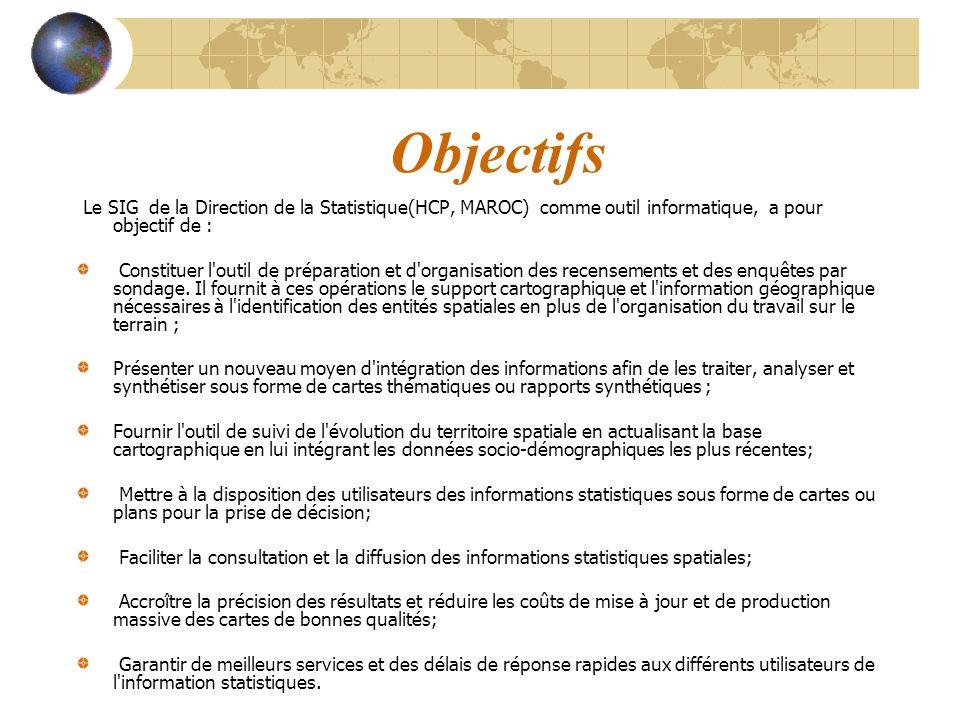 Objectifs Le SIG de la Direction de la Statistique(HCP, MAROC) comme outil informatique, a pour objectif de :