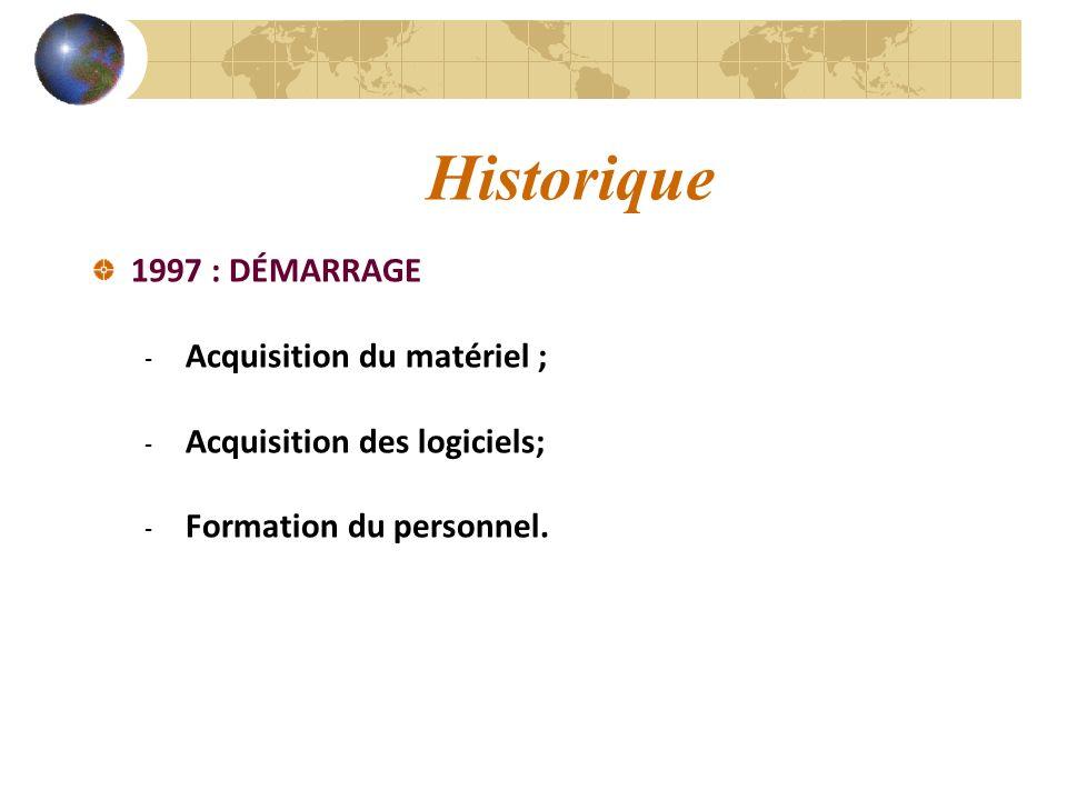 Historique 1997 : DÉMARRAGE Acquisition du matériel ;