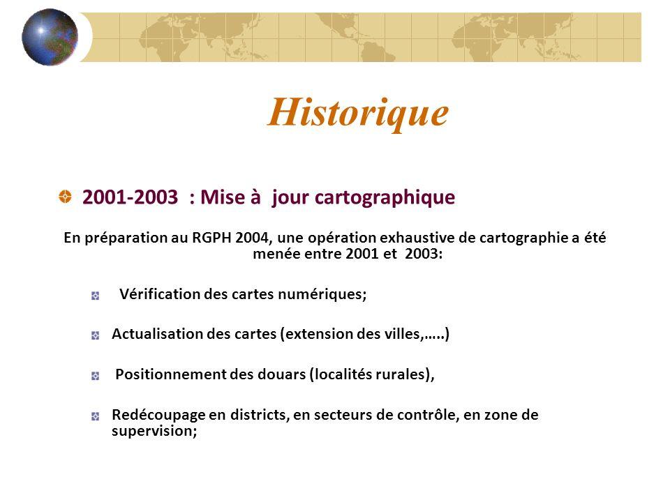 Historique 2001-2003 : Mise à jour cartographique