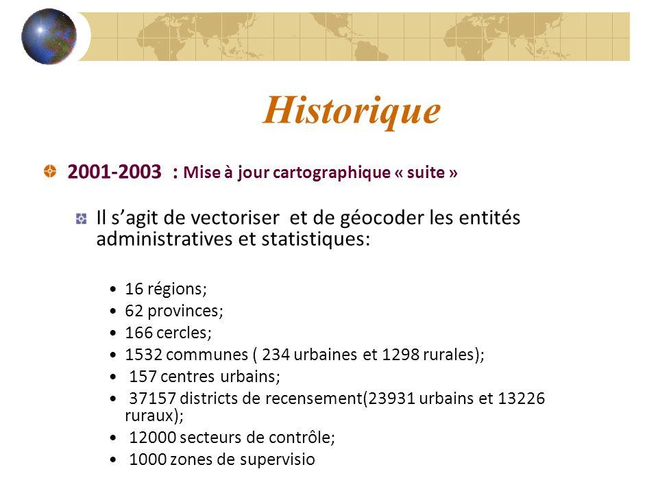 Historique 2001-2003 : Mise à jour cartographique « suite »