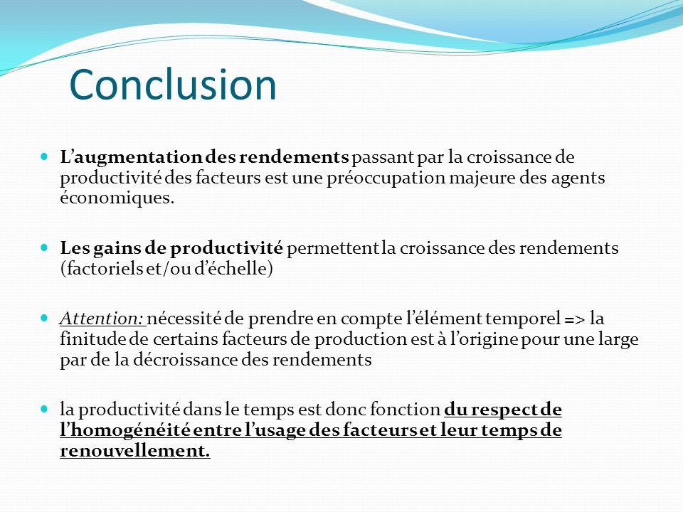 ConclusionL'augmentation des rendements passant par la croissance de productivité des facteurs est une préoccupation majeure des agents économiques.