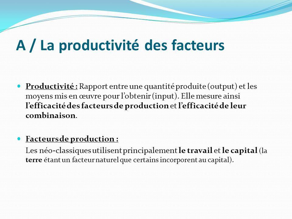 A / La productivité des facteurs