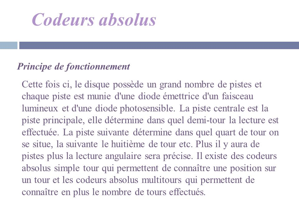 Codeurs absolus Principe de fonctionnement