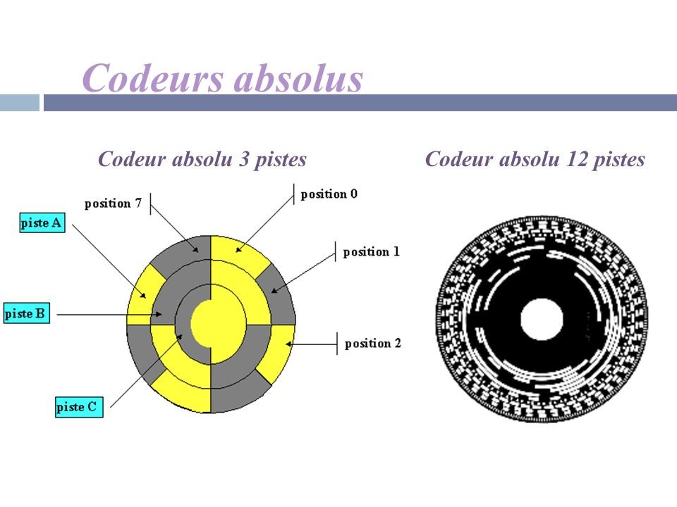 Codeurs absolus Codeur absolu 3 pistes Codeur absolu 12 pistes