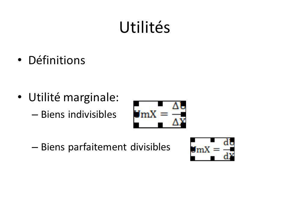 Utilités Définitions Utilité marginale: Biens indivisibles