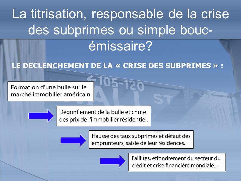 La titrisation, responsable de la crise des subprimes ou simple bouc-émissaire