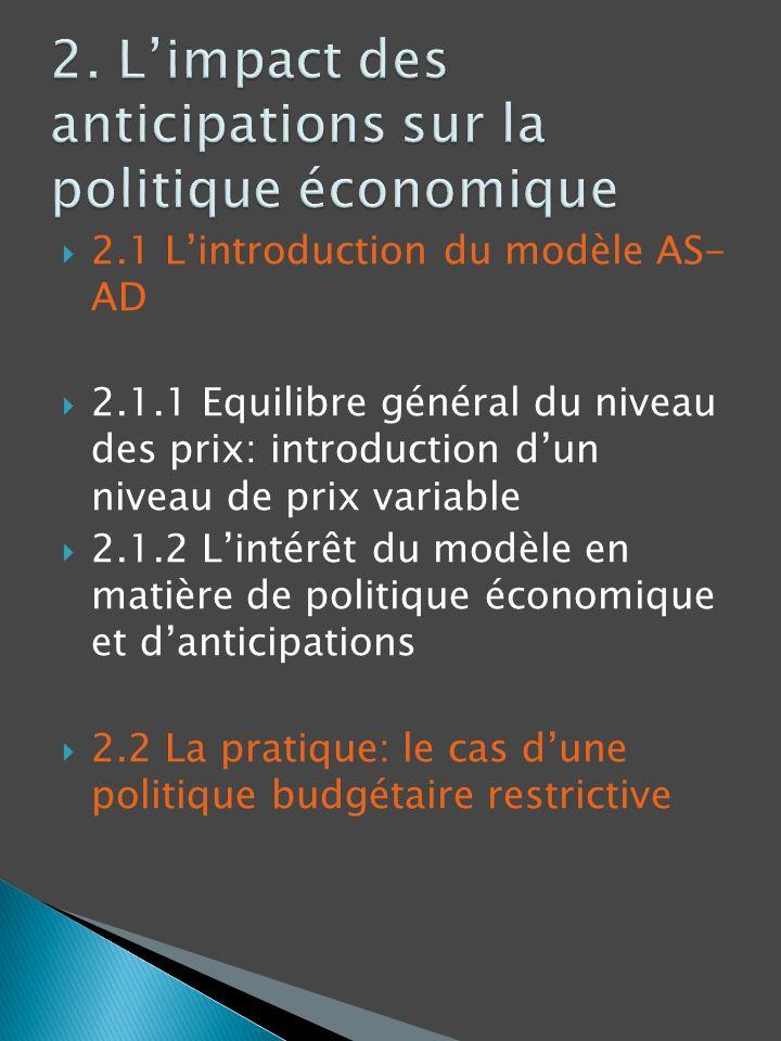 2. L'impact des anticipations sur la politique économique