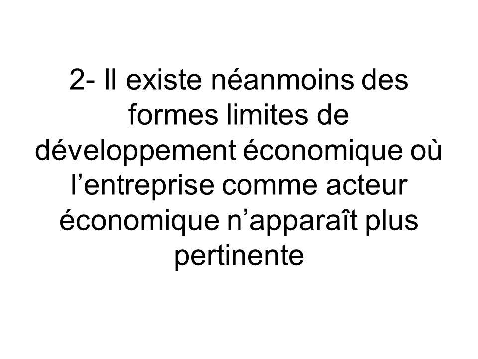 2- Il existe néanmoins des formes limites de développement économique où l'entreprise comme acteur économique n'apparaît plus pertinente