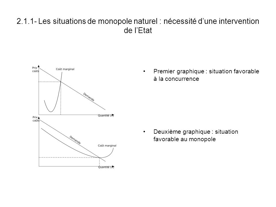 2.1.1- Les situations de monopole naturel : nécessité d'une intervention de l'Etat