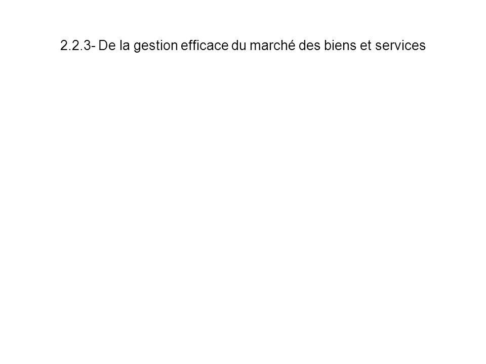 2.2.3- De la gestion efficace du marché des biens et services