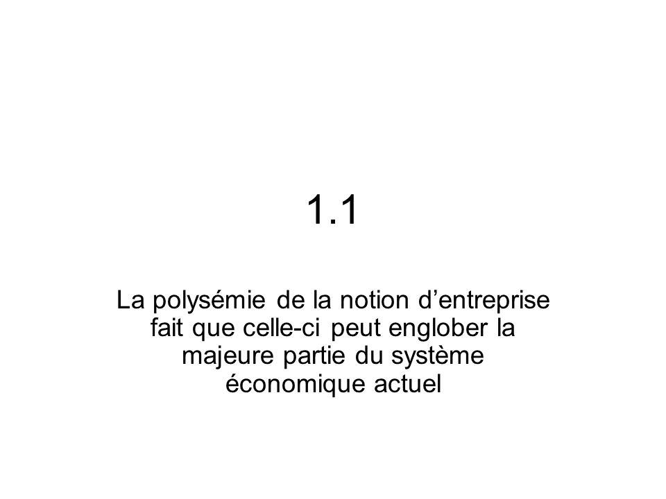 1.1 La polysémie de la notion d'entreprise fait que celle-ci peut englober la majeure partie du système économique actuel.