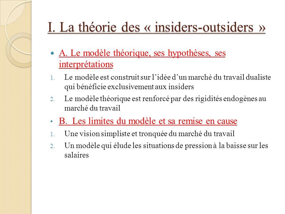 I. La théorie des « insiders-outsiders »