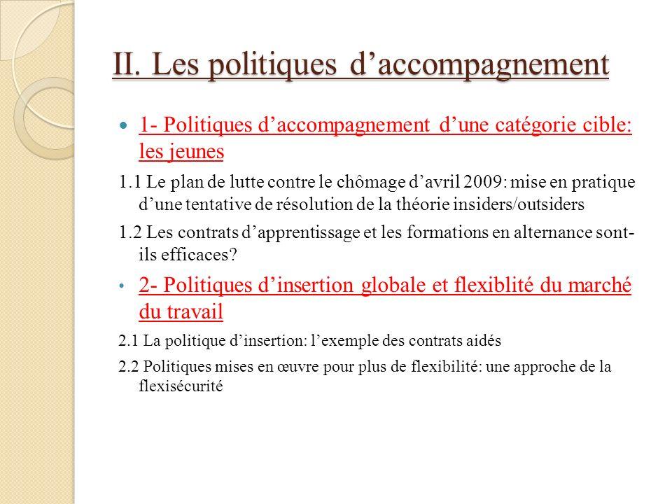 II. Les politiques d'accompagnement