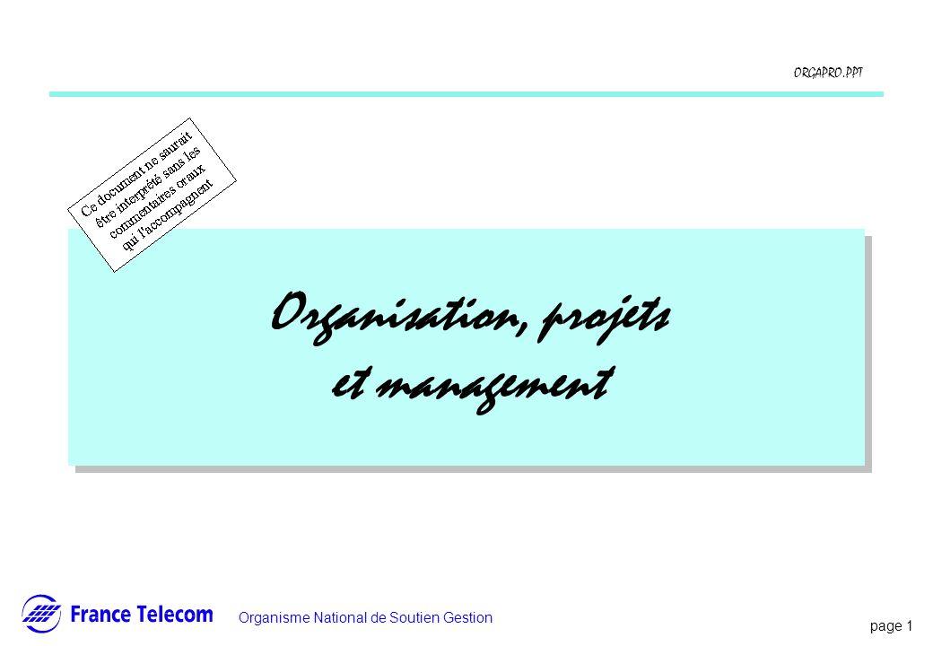 Organisation, projets et management