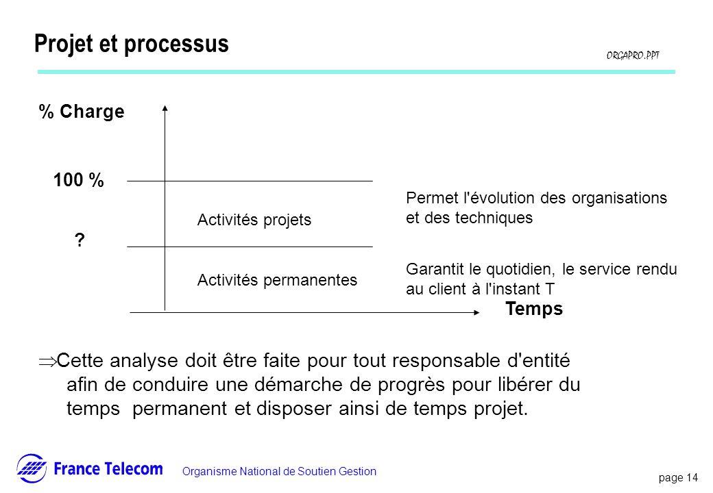 Projet et processus % Charge. 100 % Activités projets. Activités permanentes. Temps. Permet l évolution des organisations.