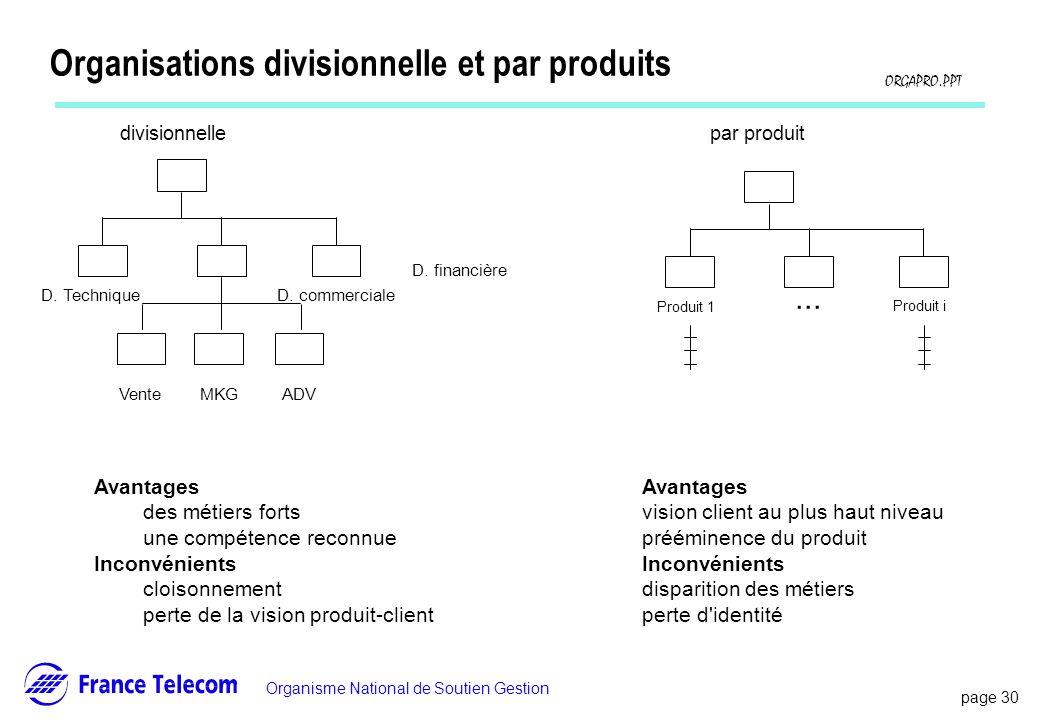 Organisations divisionnelle et par produits