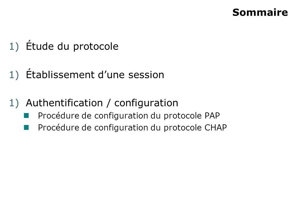 Établissement d'une session Authentification / configuration