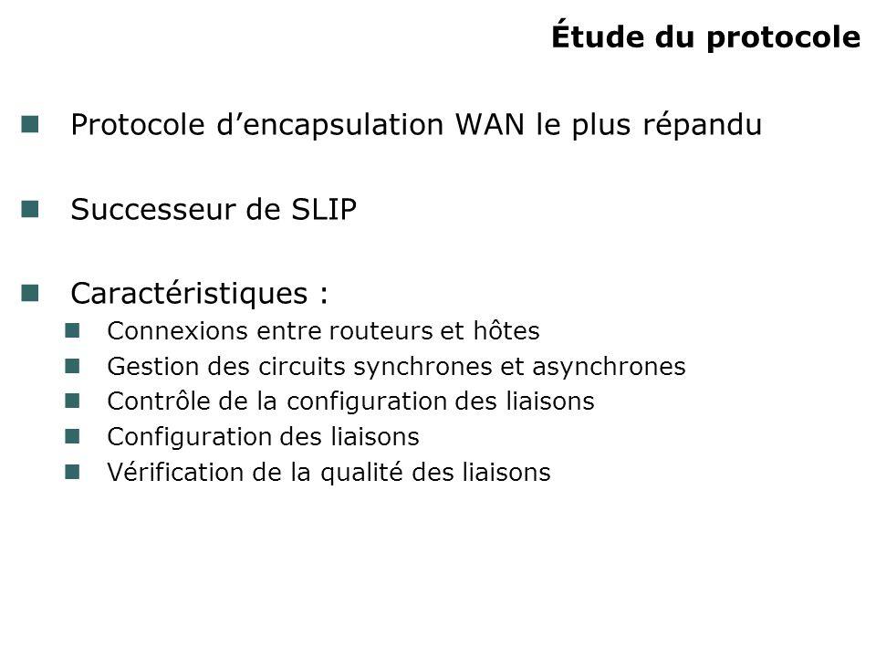 Protocole d'encapsulation WAN le plus répandu Successeur de SLIP