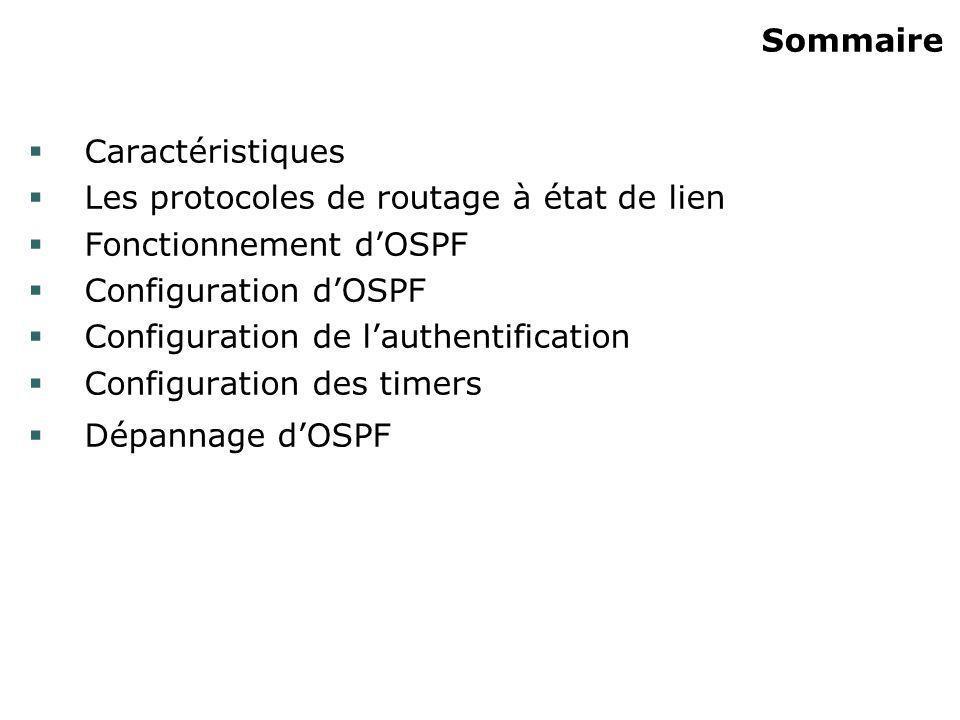 Sommaire Caractéristiques. Les protocoles de routage à état de lien. Fonctionnement d'OSPF. Configuration d'OSPF.