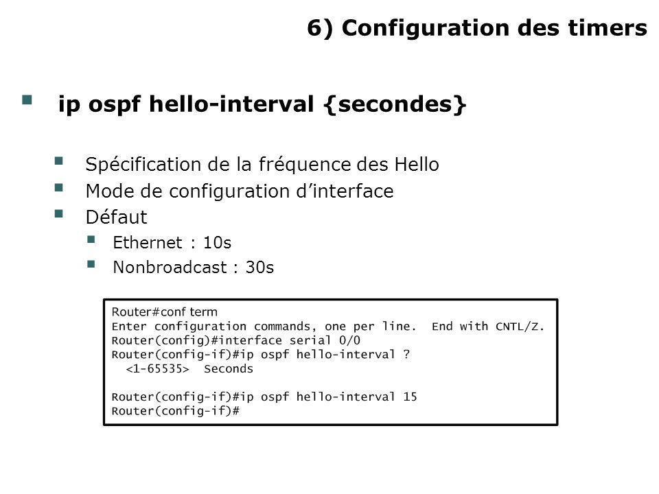 6) Configuration des timers