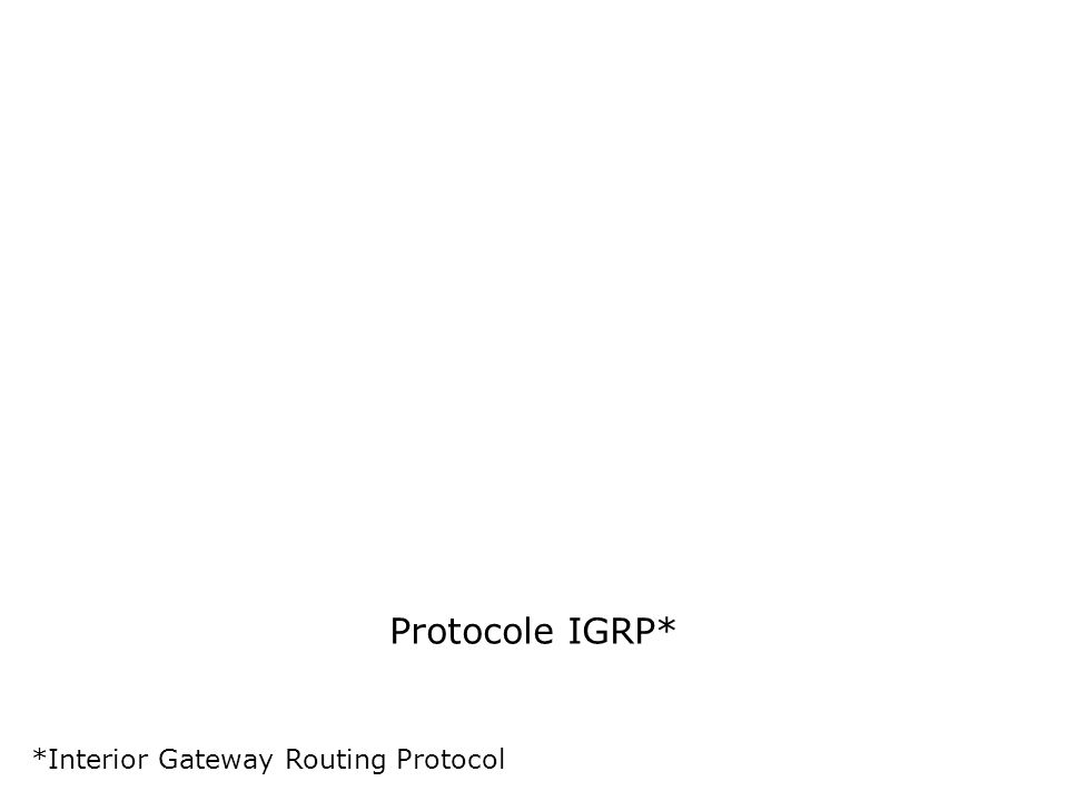 Protocole IGRP* *Interior Gateway Routing Protocol