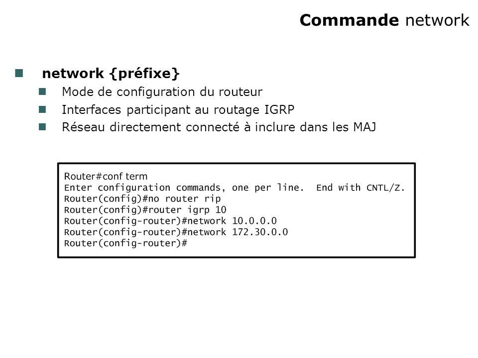 Commande network network {préfixe} Mode de configuration du routeur