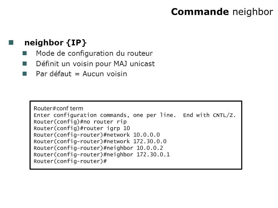 Commande neighbor neighbor {IP} Mode de configuration du routeur