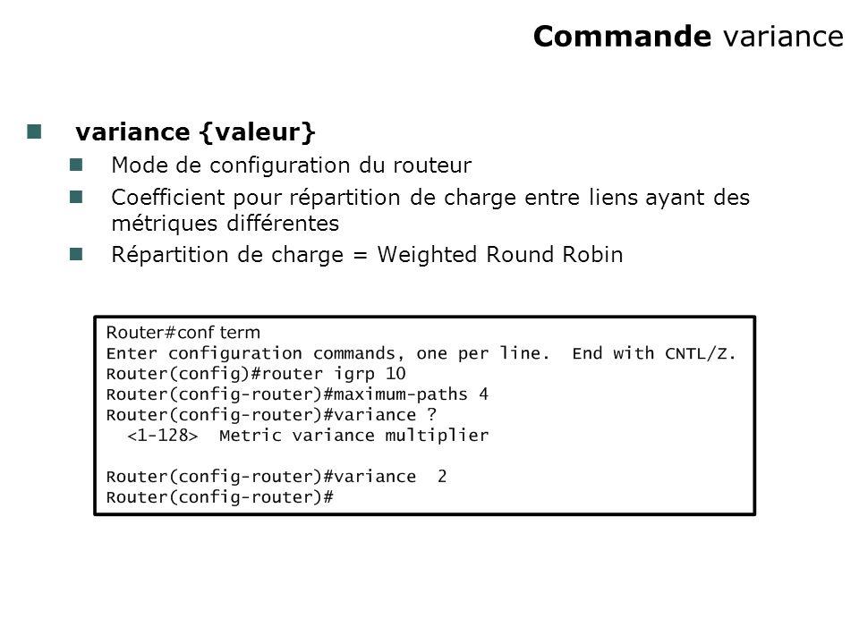 Commande variance variance {valeur} Mode de configuration du routeur