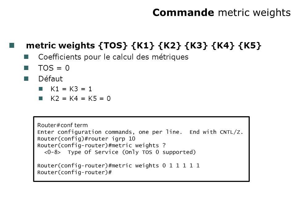 Commande metric weights