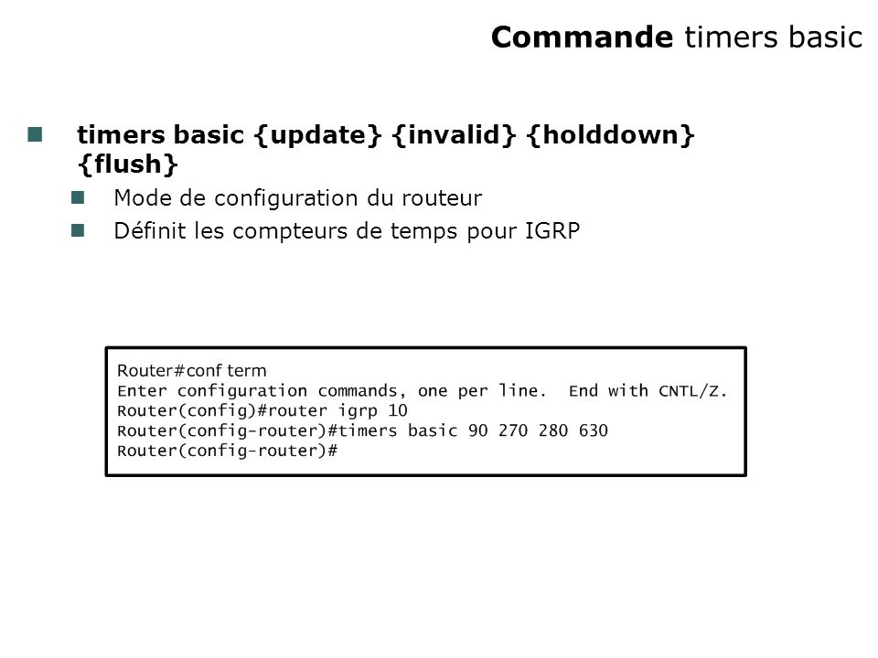 Commande timers basic timers basic {update} {invalid} {holddown} {flush} Mode de configuration du routeur.
