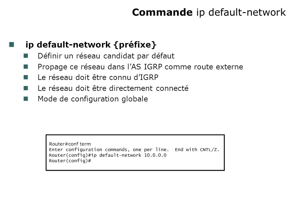 Commande ip default-network