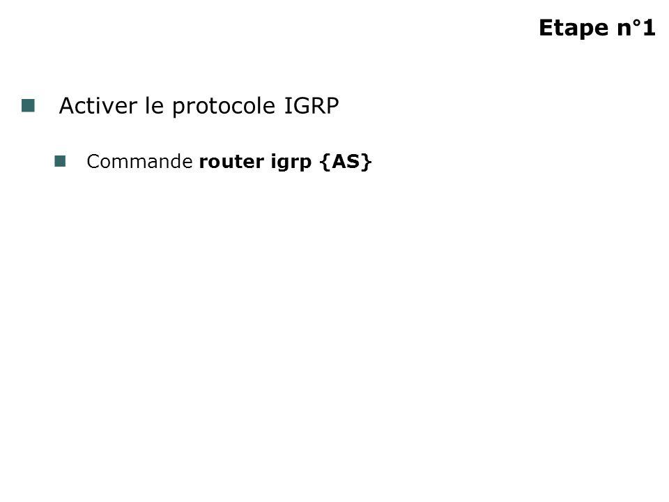 Activer le protocole IGRP