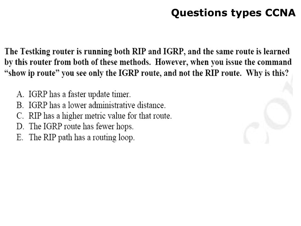 Questions types CCNA