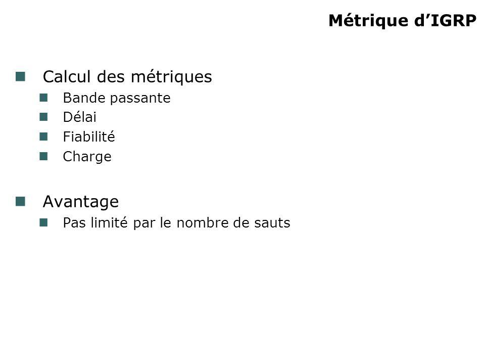 Métrique d'IGRP Calcul des métriques Avantage Bande passante Délai