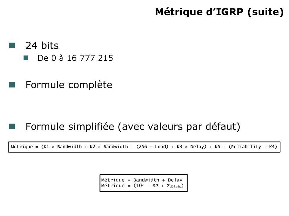 Métrique d'IGRP (suite)