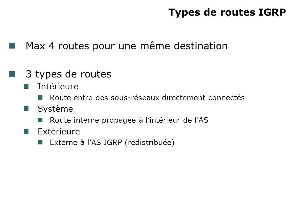 Max 4 routes pour une même destination 3 types de routes
