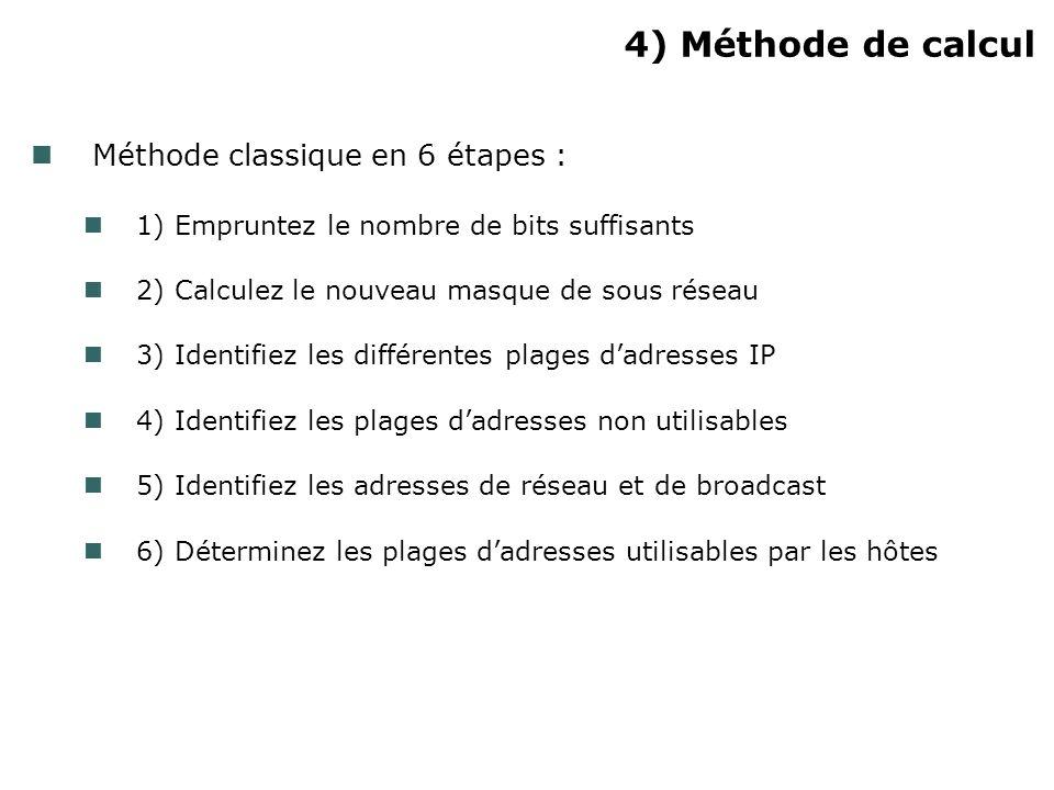 4) Méthode de calcul Méthode classique en 6 étapes :