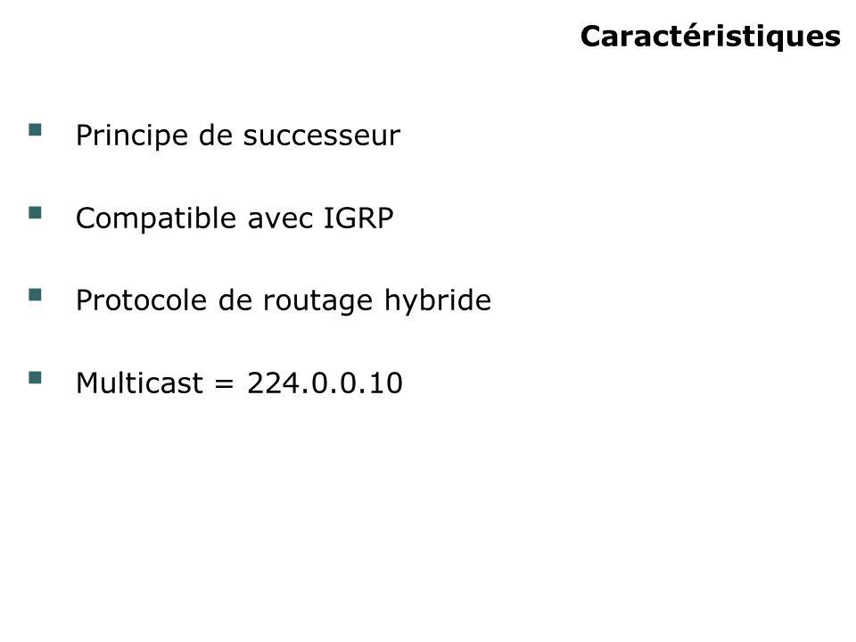 Caractéristiques Principe de successeur. Compatible avec IGRP.