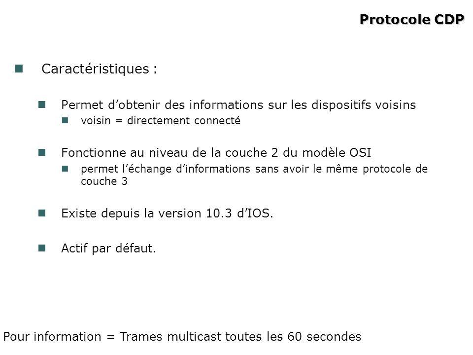 Protocole CDP Caractéristiques :