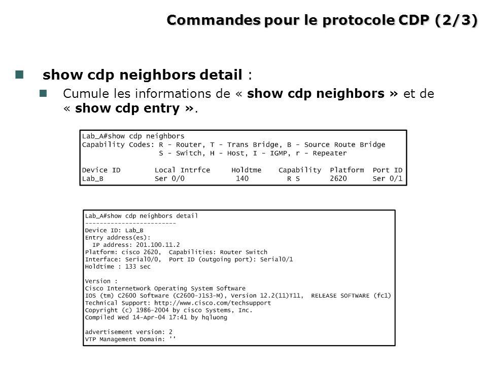 Commandes pour le protocole CDP (2/3)