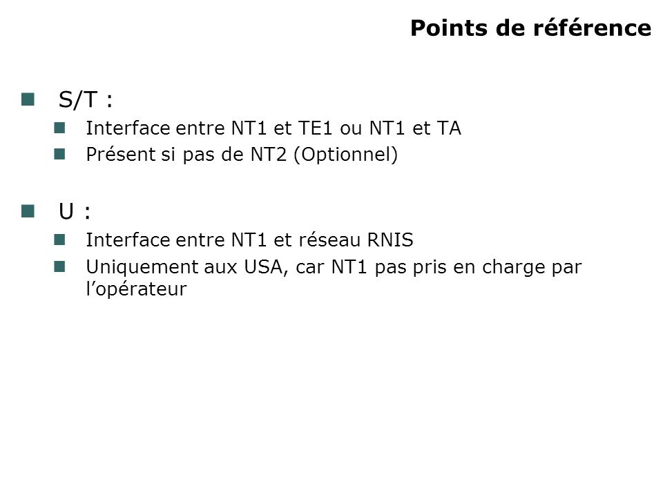 Points de référence S/T : U : Interface entre NT1 et TE1 ou NT1 et TA