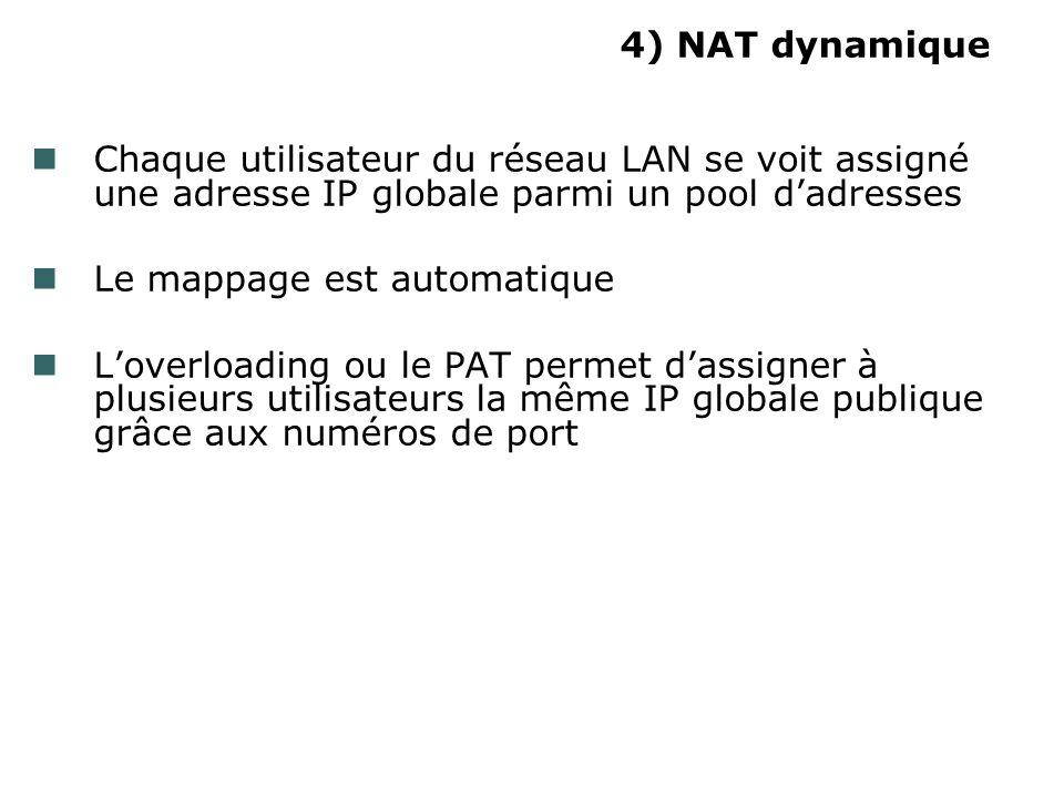 4) NAT dynamique Chaque utilisateur du réseau LAN se voit assigné une adresse IP globale parmi un pool d'adresses.