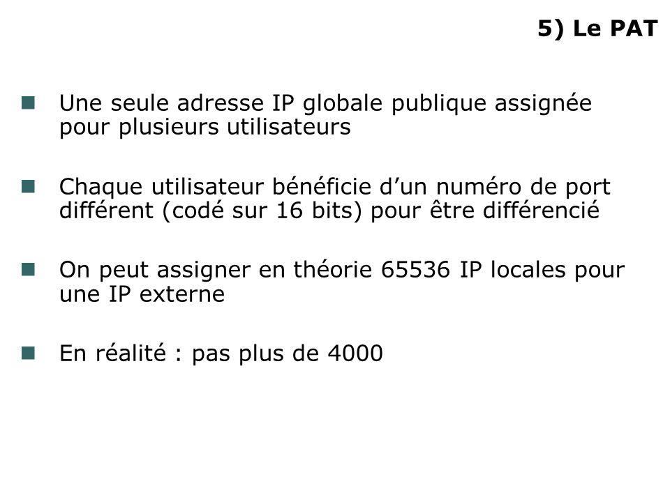 5) Le PAT Une seule adresse IP globale publique assignée pour plusieurs utilisateurs.