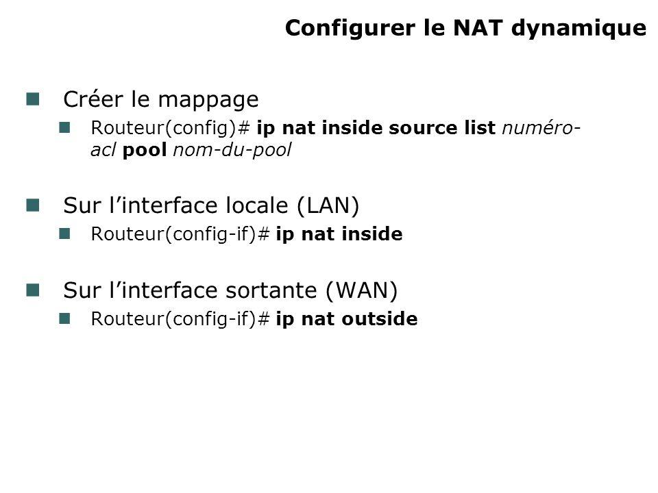 Configurer le NAT dynamique