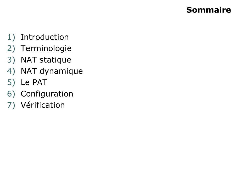 Sommaire Introduction Terminologie NAT statique NAT dynamique Le PAT Configuration Vérification