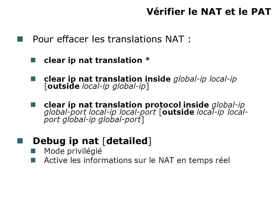 Vérifier le NAT et le PAT